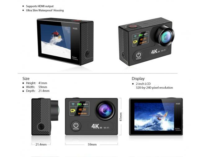 Topmodel EKEN H8R Ultra HD 4K- 30fps - Černá Sportovní kamera s ČESKÝM MENU  , ZDARMA GARANCE VYŘEŠENÍ REKLAMACE DO 24 HODIN