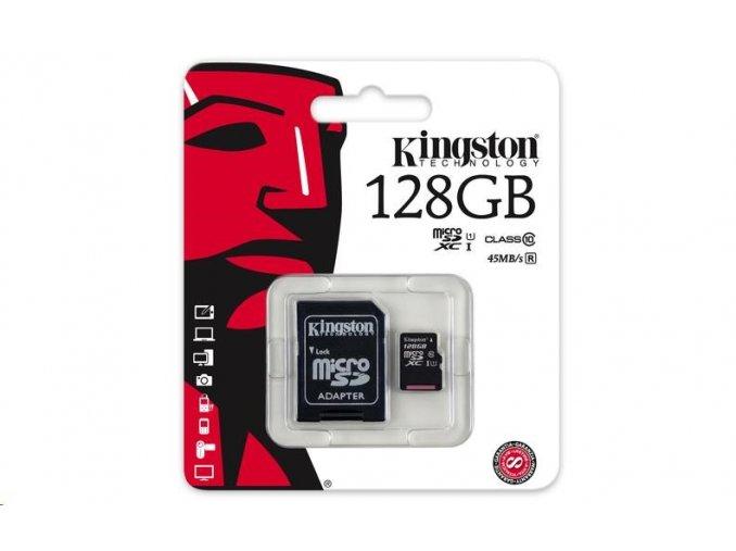 Kingston 128GB Micro SecureDigital (SDXC UHS-I) Card, Class 10 + SD adaptér